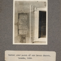 Tablet over porch of old Dutch church, Loanda, 1664