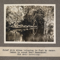 Chief with wives bringing in fuel by canoe. Taken in creek near Basankusu. Old Abir territory